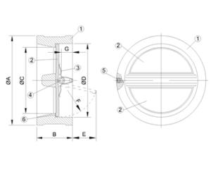 Клапан обратный поворотный чугунный ЛАЗ чертеж
