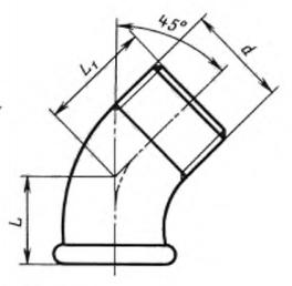 ГОСТ 8946-75 Соединительные части из ковкого чугуна с цилиндрической резьбой для трубопроводов. Угольники проходные. Основные размеры